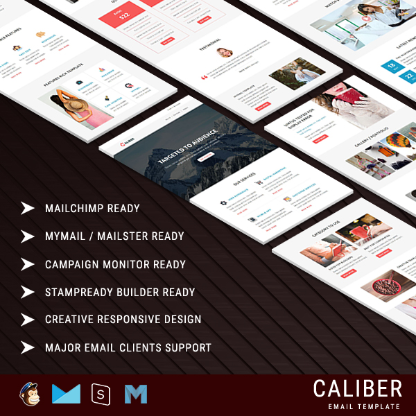 CALIBER - Multipurpose Responsive Email Template With Stamp Ready Builder Access
