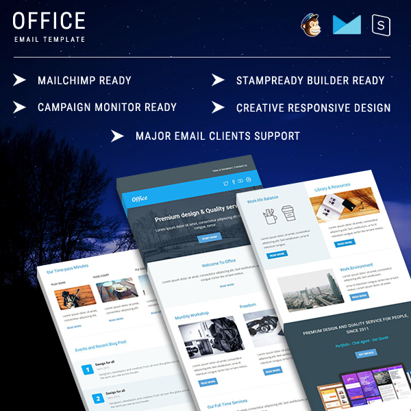 Office - Multipurpose Responsive Email Template With Stamp Ready Builder Online Access