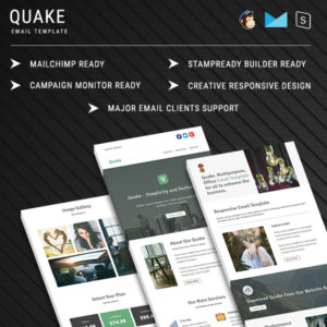 Quake - Responsive Email Template With StampReady Builder Online Access