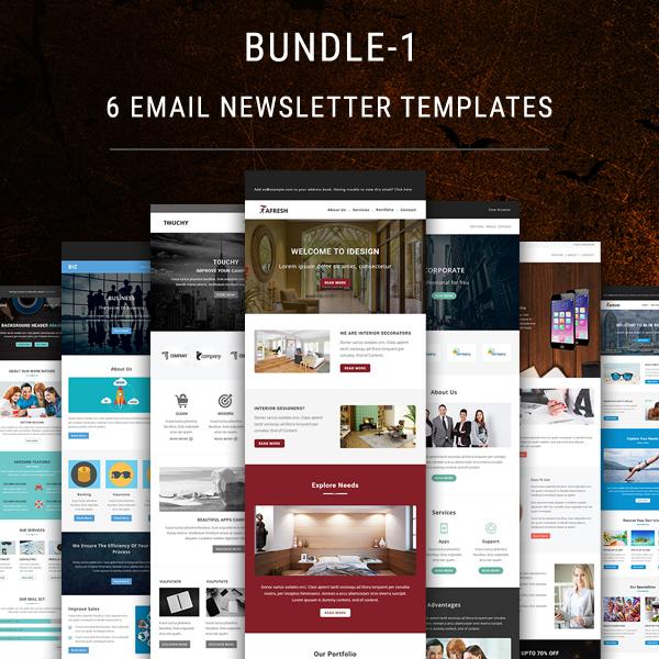 6 Email Newsletter Templates Bundle 1 Pennyblack Templates