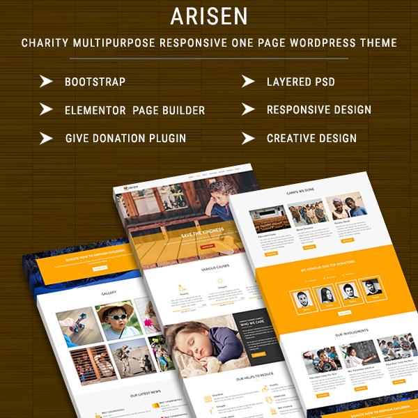 ARISEN - Charity Multipurpose Responsive One Page WordPress Theme