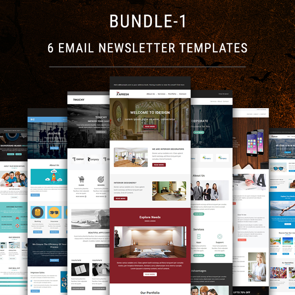 6 email newsletter templates bundle 1 pennyblack templates for Yahoo ecommerce templates