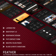 FEATHER - Multipurpose Responsive Personal Portfolio, Resume One Page HTML Template