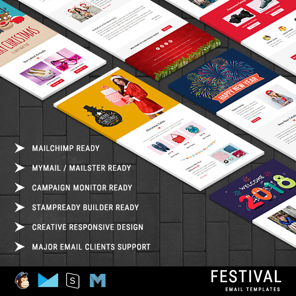 festival christmas responsive email template 10 notifications with stampready builder access. Black Bedroom Furniture Sets. Home Design Ideas