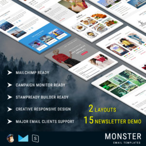 MONSTER - Multipurpose Responsive Email Pack with Stampready Builder online Access