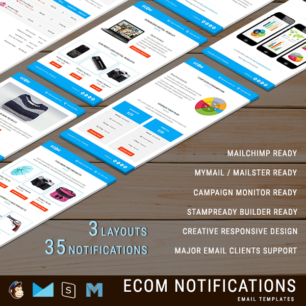 ECOM - 38 Unique Transactional and Notification Email Templates with 3 Layouts