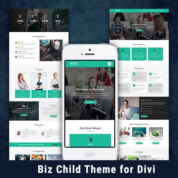 Biz One Page Wordpress Child Theme For Divi Pennyblack Templates